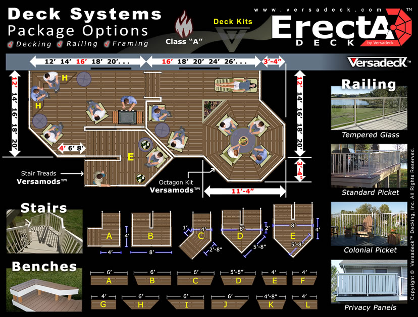 ErectADeck™ Deck Kits by Versadeck Decking - Noncombustible Deck System