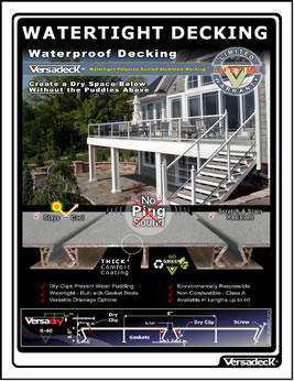 Waterproof Aluminum Decking Versadry is Watertight
