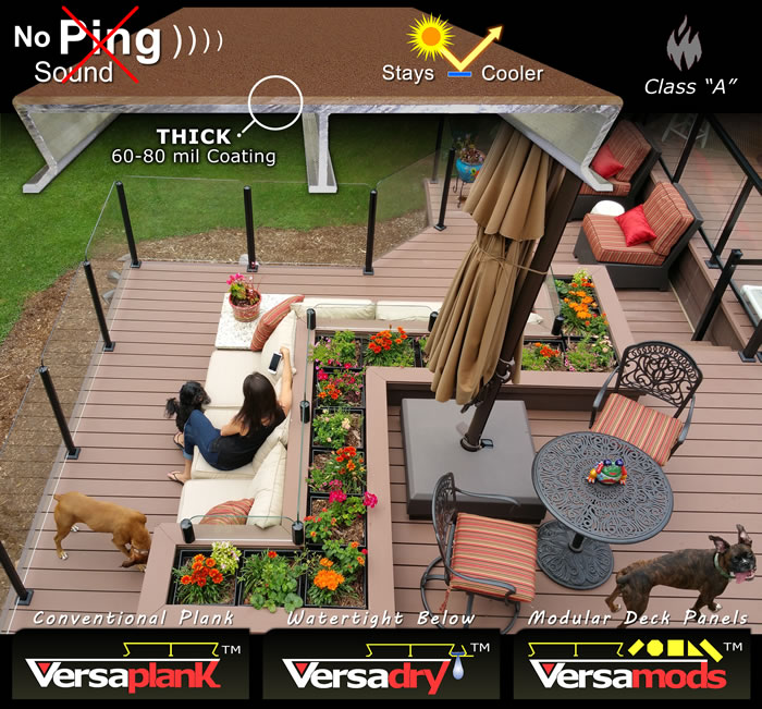 Versadeck Decking is aluminum decking with a thick comfort coating combined with the versatility of three combine-able systems. Plank, Waterproof Decking and Modular Panels